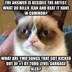 Grumpy Cat  - The answer is besides the artist, what do billie jean and beat it have in common? What are two songs that got kicked out oF #1 by turd level garbage Alex?