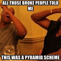 Kanye and Jay - all those broke people told me this was a pyramid scheme