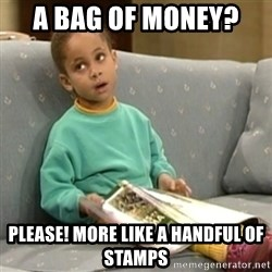Olivia Cosby Show - a bag of money?  please! more like a handful of stamps