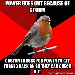 Retail Bird - Power goes out because of storm Customer asks for power to get turned back on so they can check out