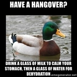 advice mallard - Have a hangover? Drink a glass of milk to calm your stomach, then a glass of water for dehydration