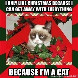 GRUMPY CAT ON CHRISTMAS - I ONLY LIKE CHRISTMAS BECAUSE I CAN GET AWAY WITH EVERYTHING  BECAUSE I'M A CAT