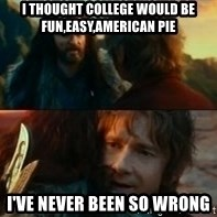 Never Have I Been So Wrong - I thought college would be fun,easy,American pie i've never been so wrong