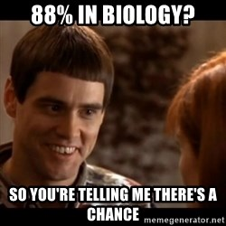 So you're telling me there's a chance - 88% in biology? so you're telling me there's a chance