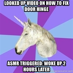 ASMR Unicorn - Looked up video on how to fix door Hinge ASMR Triggered: Woke up 2 hours later