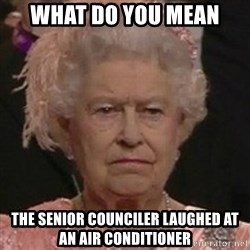 Queen Elizabeth II - What do you mean  the senior counciler laughed at an air conditioner