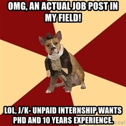Archaeology Major Dog - OMG, an actual job post in my field! LOL, j/k- unpaid internship wants phd and 10 years experience.