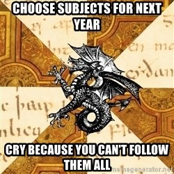 History Major Heraldic Beast - Choose subjects for next year cry because you can't follow them all
