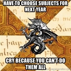 History Major Heraldic Beast - Have to choose subjects for next year Cry because you can't do them all