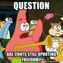Patrick - question are cunts still upvoting freedom?
