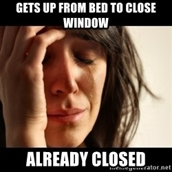 crying girl sad - Gets up from bed to close window  already closed