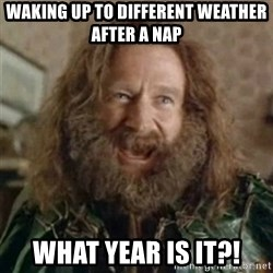 What Year - waking up to different weather after a nap what year is it?!