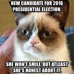 Grumpy Cat  - new candidate for 2016 presidential election.  she won't smile, but atleast she's honest about it.