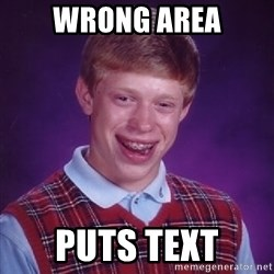 Bad Luck Brian - wrong area puts text