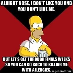 Homer Jay Simpson - ALRIGHT NOSE, I DON'T LIKE YOU AND YOU DON'T LIKE ME. But let's get through finals weeks so you can go back to killing me with allergies.