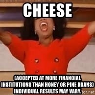 giving oprah - cheese (accepted at more financial institutions than honey or pine koans) individual results may vary.