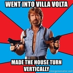 Chuck Norris  - WENT INTO VILLA VOLTA MADE THE HOUSE TURN VERTICALLY