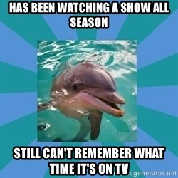 Dyscalculic Dolphin - has been watching a show all season still can't remember what time it's on tv