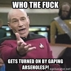 Captain Picard - who the fuck gets turned on by gaping arseholes?!