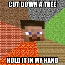 Minecraft Steve - CUT DOWN A TREE HOLD IT IN MY HAND