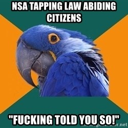 "Paranoid Parrot - NSA tapping law abiding citizens ""FUCKING TOLD YOU SO!"""