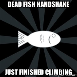 rNd fish - dead fish handshake just finished climbing