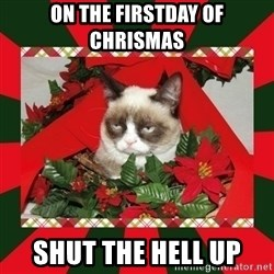 GRUMPY CAT ON CHRISTMAS - ON THE FIRSTDAY OF CHRISMAS SHUT THE HELL UP