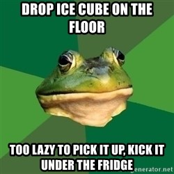 Foul Bachelor Frog - Drop ice cube on the floor Too lazy to pick it up, kick it under the fridge