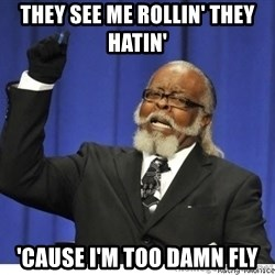 Too high - they see me rollin' they hatin' 'cause i'm too damn fly