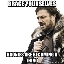 Winter is Coming - Brace yourselves bronies are becoming a thing