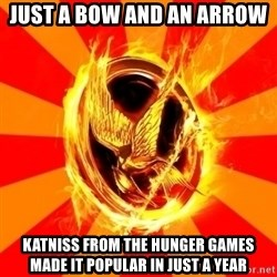 Typical fan of the hunger games - JUST A BOW AND AN ARROW  KATNISS FROM THE HUNGER GAMES MADE IT POPULAR IN JUST A YEAR