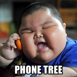 Fat asian kid on phone -  PHONE TREE