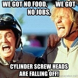 Dumb and Dumber - We got no food,       We got no Jobs,  Cylinder Screw heads              are falling off!
