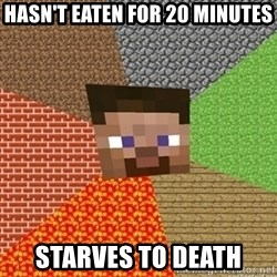 Minecraft Steve - Hasn't eaten for 20 minutes Starves to death