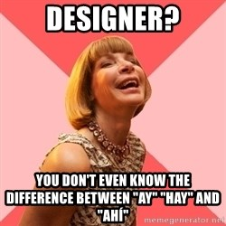 """Amused Anna Wintour - designer? you don't even know the difference between """"ay"""" """"hay"""" and """"ahí"""""""