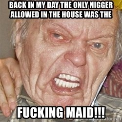 Grumpy Grandpa - Back in my day the only Nigger allowed in the house was the FUCKING MAID!!!
