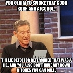 Maury Bishop - You claim to smoke that good kush and alcohol.. The lie detector determined that was a lie.. And you also don't have any down bitches you can call..