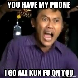 arya wiguna meme - YOU HAVE MY PHONE  I GO ALL KUN FU ON YOU