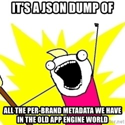 X ALL THE THINGS - it's a JSON dump of all the per-brand metadata we have in the old app engine world
