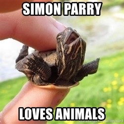excited turtle - Simon Parry loves animals