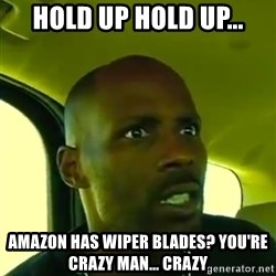 DMX - HOLD UP HOLD UP... AMAZON HAS WIPER BLADES? YOU'RE CRAZY MAN... CRAZY