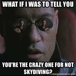 """Morpheus """"what if I told you"""" - What if I was to tell you You're the crazy one for not skydiving?"""
