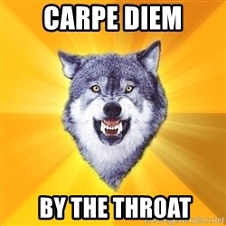 Courage Wolf - CARPE DIEM  BY THE THROAT