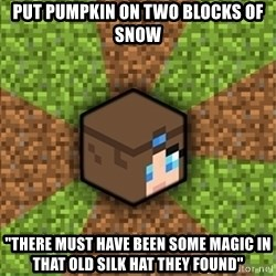 "Minecraft Logic - put pumpkin on two blocks of snow ""there must have been some magic in that old silk hat they found"""