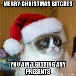 Grumpy Cat Santa Hat - Merry Christmas Bitches You ain't getting any presents