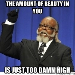 Too high - The amount of beauty in you Is just too damn high