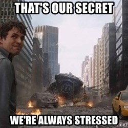 Bruce banner - THAT'S OUR SECRET WE'RE ALWAYS STRESSED