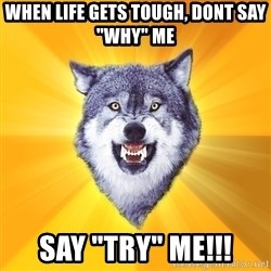 "Courage Wolf - when life gets tough, dont say ""why"" me SAY ""TRY"" ME!!!"
