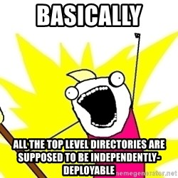 X ALL THE THINGS - basically all the top level directories are supposed to be independently-deployable