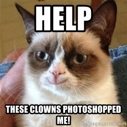 Grumpy Cat Smile - HELP These clowns photoshopped me!
